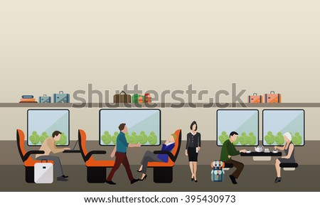 Passengers in public transport concept vector banner. People in train. Subway and rail transport interior. - stock vector
