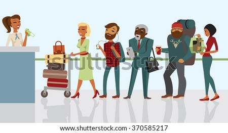 Passengers in queue waiting check-in counters at airport - stock vector