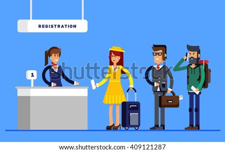 Passengers in queue waiting check-in counters at airport near reception area. Ticket inspection. Vector flat concept - stock vector