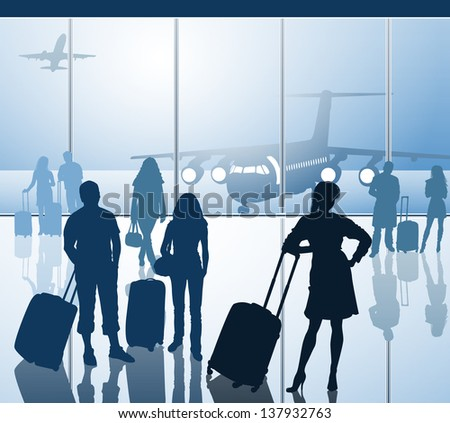 Passengers with luggage in airport - stock vector