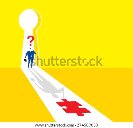 Passing the test door - stock vector