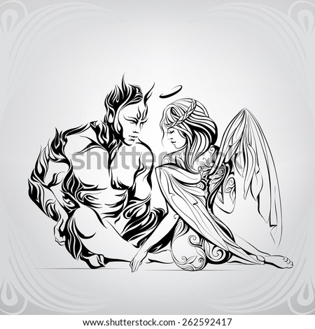 Passion between an angel and the demon - stock vector