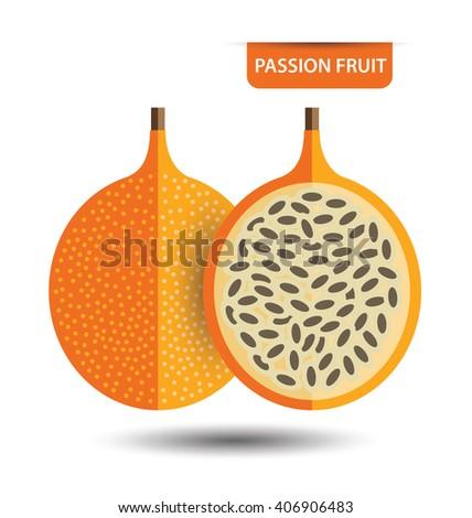 Passion fruit, fruit vector illustration - stock vector