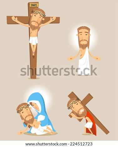Passion of christ cartoon illustrations - stock vector
