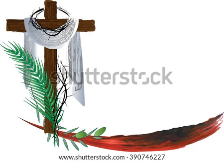 Passion of Christ - Holy Week Palm Sunday Easter. Abstract vector illustration - stock vector