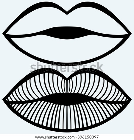 Passionate female lips. Isolated on blue background. Vector silhouettes - stock vector