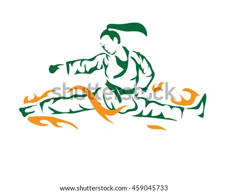 Passionate Sports Athlete In Action Logo - Flaming Split Taekwondo Kick - stock vector