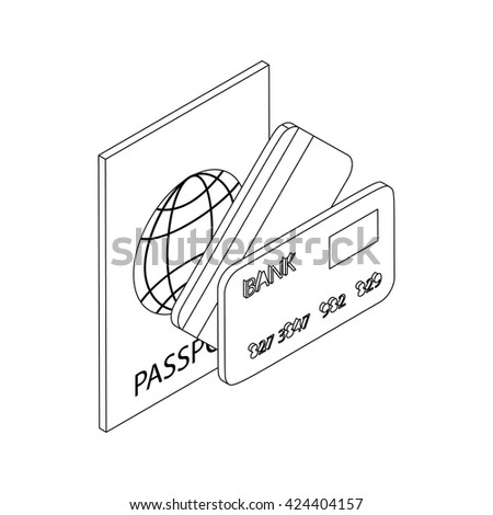 Passport and bank cards icon - stock vector