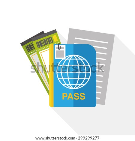 Passport and ticket flat icon with long shadow - stock vector