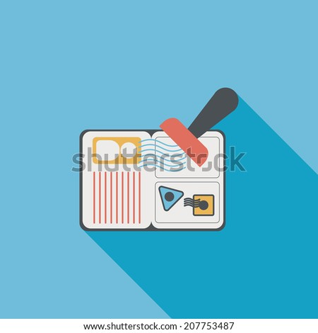 Passport icon, flat icon with long shadow - stock vector