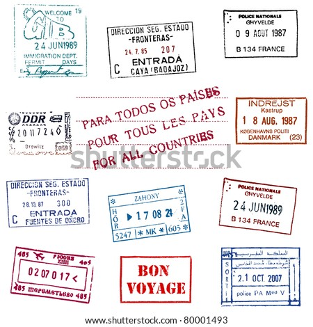 Passport Stamps - stock vector