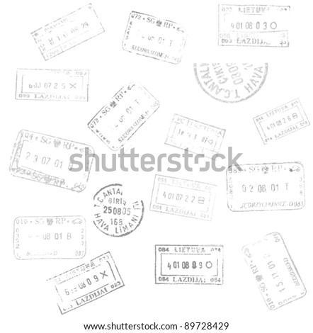 passport stamps background for your design - stock vector