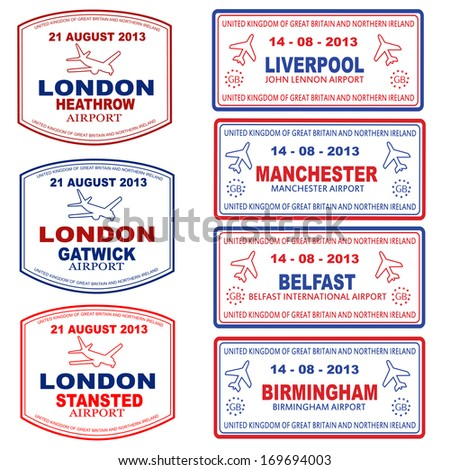Passport stamps of the UK and Northern Ireland, vector illustration - stock vector