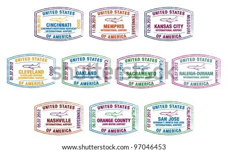 Passport stamps of US airports in vector format. - stock vector