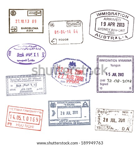 Passport stamps. Set 2 - stock vector
