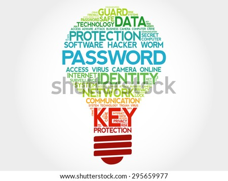 PASSWORD bulb word cloud, business concept - stock vector