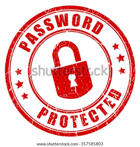 Password protected rubber stamp illustration isolated on white background - stock vector