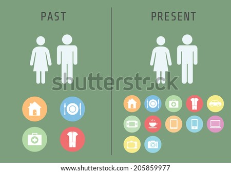 past to present, basic human needs is different, flat style - stock vector