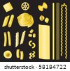 Pasta - a selection of different types of pasta on a black background. - stock vector