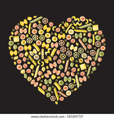 Pasta art - Heart. A selection of different types of pasta in the form of a heart on a black background. - stock vector