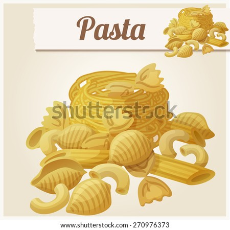Pasta. Detailed Vector Icon. Series of food and drink and ingredients for cooking. - stock vector