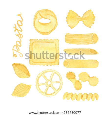 Pasta. Hand-drawn food. Real watercolor drawing. Vector illustration. Traced painting - stock vector