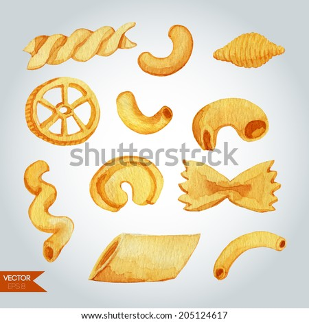 Pasta varieties. Vector watercolor illustration. - stock vector