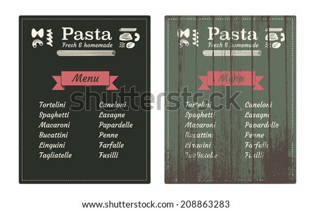 Pasta vintage wooden sign & icons - homemade pasta banner + basic pasta types - stock vector