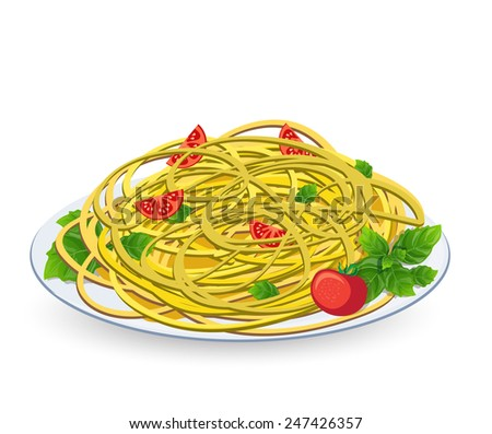 Pasta with tomato on a plate on a white background - stock vector