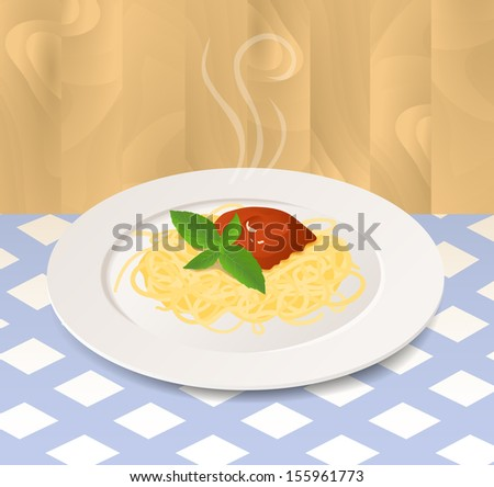 Pasta with Tomato Sauce and Basil on a Plate - stock vector