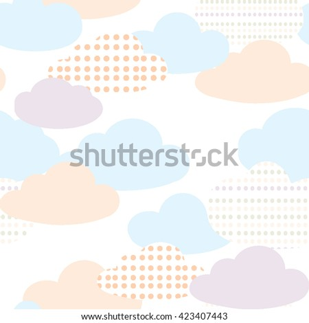 Pastel color clouds seamless pattern vector. Cute baby vector. - stock vector