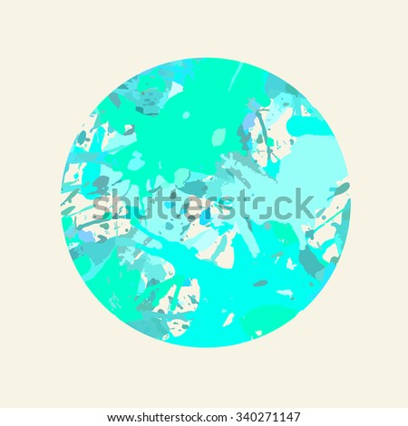 Pastel colored blue artistic paint splashes in a circle. - stock vector