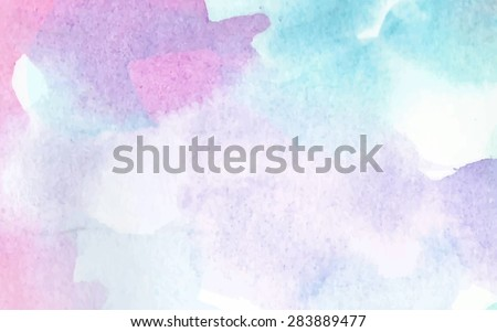 Pastel colorful abstract painted vector banner. Watercolor blue violet green pink wet brush hand drawn paper texture background. Artistic design illustration for card, wallpaper, template, print, web - stock vector