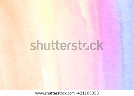 Pastel colorful yellow pink violet hand drawn paper grain texture stroke vector stylized banner. Bright wet brush paint wash smudges element for greeting card, invitation, template, print, wallpaper - stock vector
