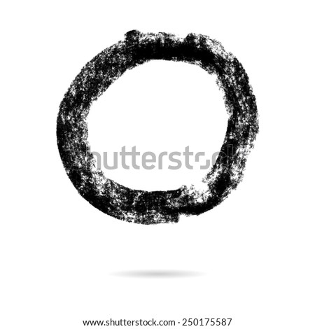 Pastel crayon round grunge frame isolated on white background, vector illustration eps10. - stock vector