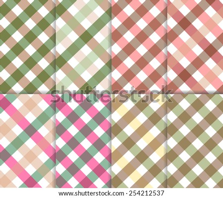 Pastel pink, olive green, brown, yellow and white color gingham background. Set of seamless multicolored checkered pattern, vector art image illustration, eps10 - stock vector