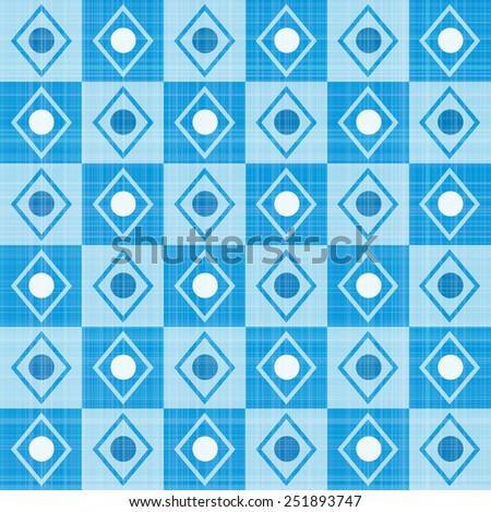 Pastel retro blue stripes mosaic plaid  - stock vector