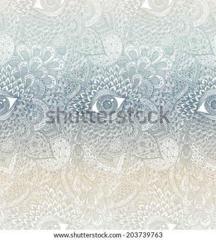Pastel Seamless Vector Mandala Pattern - stock vector