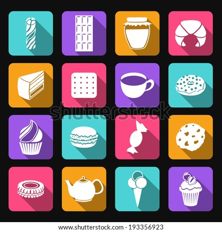 Pastry and sweets icons set of croissant layered cake cookies isolated vector illustration - stock vector