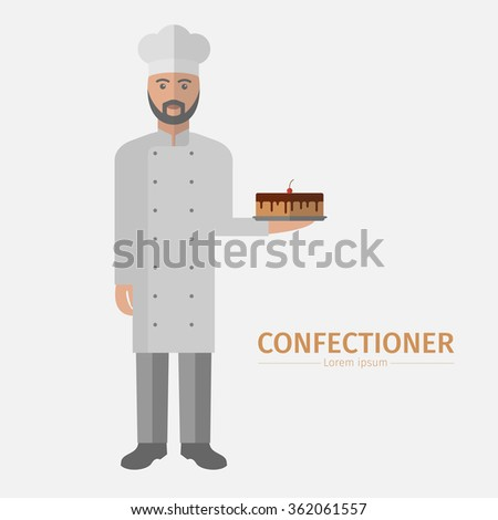 Pastry chef character, confectioner holding plate with cake. - stock vector