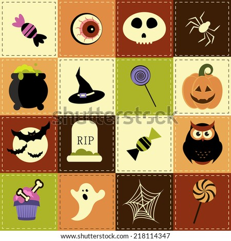 Patchwork background with Halloween elements - stock vector