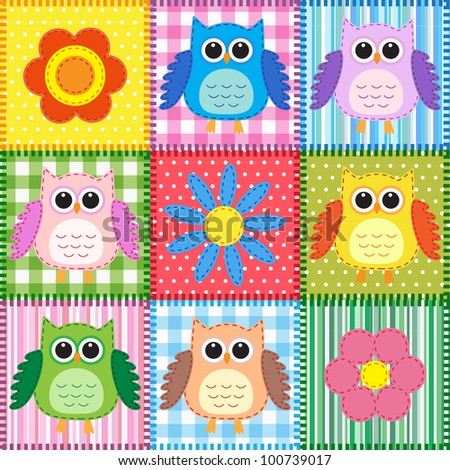 Patchwork background with owls and flowers - stock vector