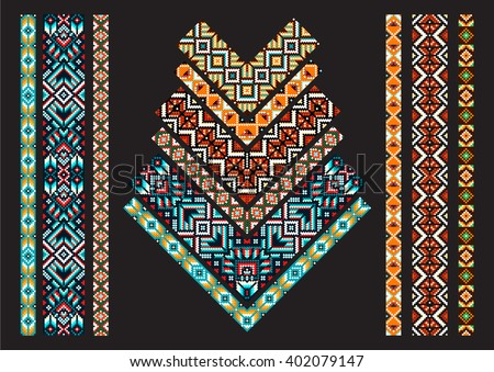 Patchwork fabric for creativity, patchwork corner, patchwork blanket. Trendy, ethnic seamless pattern, embroidery cross, squares, diamonds, chevrons. Beads, bracelet, ribbon, lace, bead weaving. - stock vector