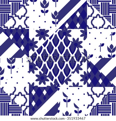 Patchwork quilt vector pattern tiles. Blue indigo and white portuguese or moroccan arabic ceramic floor tiles. - stock vector