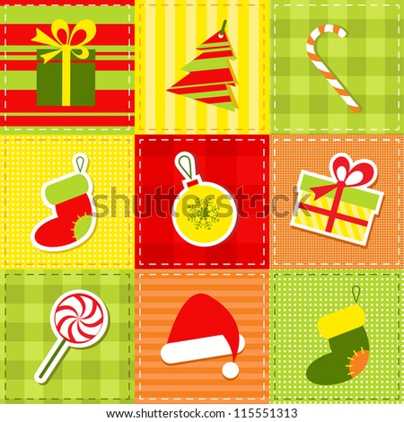 patchwork with christmas elements - stock vector