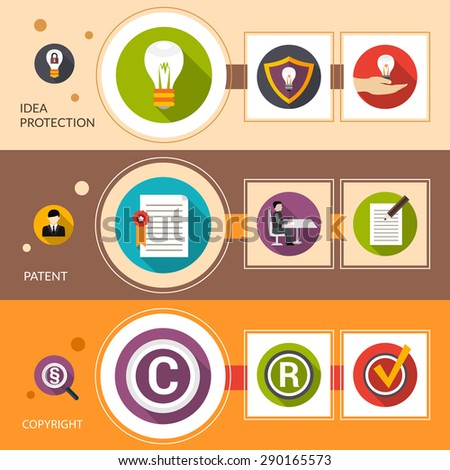 Patent idea protection horizontal banner set with copyright flat elements isolated vector illustration - stock vector
