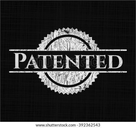 Patented chalkboard emblem written on a blackboard - stock vector