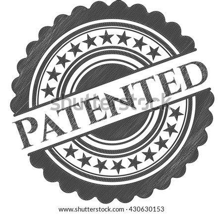 Patented emblem drawn in pencil - stock vector