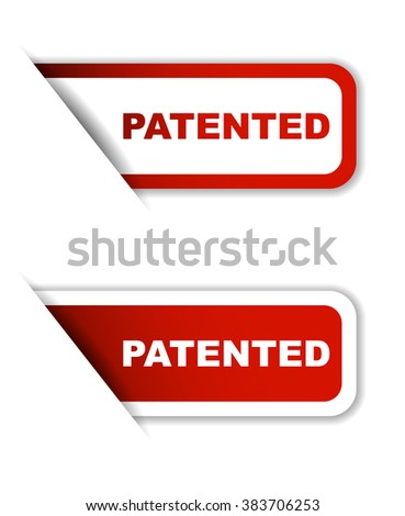 patented, red vector patented, red sticker patented, set stickers patented, element patented, sign patented, design patented, picture patented, patented eps10 - stock vector