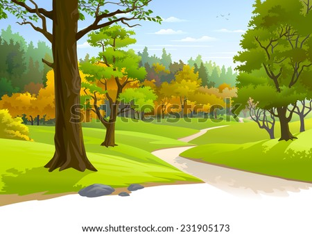 Pathway through a blissful forest - stock vector